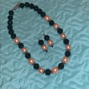Necklace with matching hanging earrings